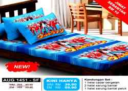 Versi Terbaru! Set Cadar Single Queen Comforter Bantal Ultraman 9 Brothers Bedsheet