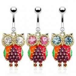 316L Surgical Steel Colorful Epoxy Owl with CZ Eyes Dangle Navel Ring