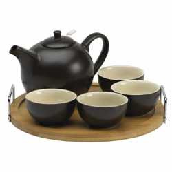 Buy Black Teapot Set with Bamboo Tray at Enjoying Tea