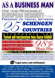 Schengen Visa, Resident Permit, One year Renewalbe, Business basis. Freedom to Travel between 25 Countries