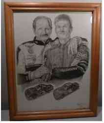 Dale Earnhardt and Dale Jr. Art Print by Dale Adkins